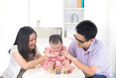 Asian parent playing with baby education concept — Stock Photo