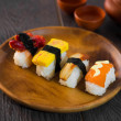 Sushi Assortment On wooden Dish, close up — 图库照片