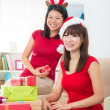 Asian friend lifestyle christmas photo — Stock Photo #34254509