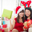 Asian friend lifestyle christmas photo — 图库照片