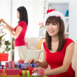 Asian friend lifestyle christmas photo — Stock Photo #34254647