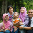 Stock Photo: Malay family having fun in the park ,malaysian people