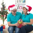 Asian couple life christmas celebration gift sharing — Stock fotografie