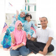 Malay family with malaysiflag lifestyle photo — Stock Photo #34255297