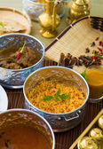 Indian meal with curry and biryani — Stock Photo