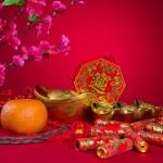 Chinese New Year Decoration plum blossom and gold bullion symbol — Stock Photo #35651103