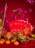 Chinese new year festival decorations, ang pow or red packet and — Stock Photo