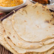 Chapati or Flat bread, Indian food, made from wheat flour dough. — Stock Photo