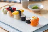 Sushi Assortment On a Dish, close up — ストック写真