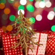 Christmas decoration tree and presents on the background — Photo