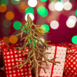 Christmas decoration tree and presents on the background — Stock Photo