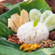 Nasi lemak, a traditional malay curry paste rice dish served on — Stock Photo