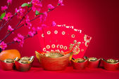 Chinese new year decorations,generic chinese character symbolize — Stock Photo