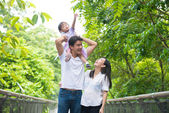 Chinese asian pregnant mother and family outdoor photo — Foto de Stock