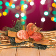 Stock Photo: Christmas decorations and presents with background lights