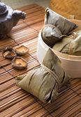 Chinese Rice dumpling on set up background — Stock Photo
