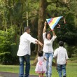 Indian family playing kite in the outdoor park — Stock Photo #43092739