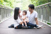 Pregnant mother with family — Stock Photo