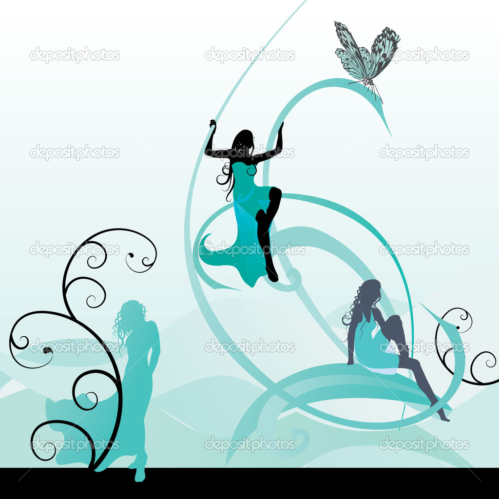 lady winter. vector illustration. — 矢量图片作者 cherju