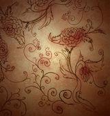 Bruin grunge papier met de hand getekende bloemen — Stockfoto