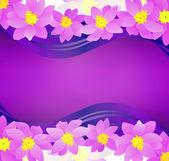 Roze bloemen grens op donkere magenta achtergrond — Stockfoto