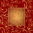 Stock Photo: Red and gold grunge paper background