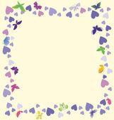 心、蝶と美しい抽象的な背景 — ストック写真