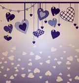 Blue colors hanging hearts old paper — Stock fotografie