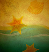Vintage beach sand and wave background with seastar and shell — Stock Photo