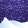 Vector illustration of falling snow in the night dark blue sky - Stock Photo