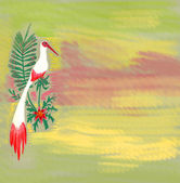 Watercolor paint white bird — Stock Photo