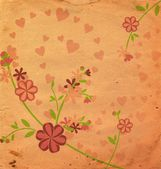 Vintage style flowers illustration pink old paper — Stock Photo