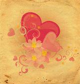 Fondo rojo de grunge de corazón y flores — Foto de Stock