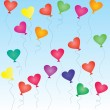 Colorful heart-shaped balloons in the blue sky — Stock Vector
