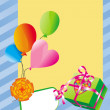 Frame with balloons and present box — Imagen vectorial