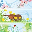 Royalty-Free Stock Vector Image: Spring banners set with blossom tree, violin, flowers and ladybird