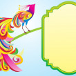 Colorful bird with frame — Imagen vectorial