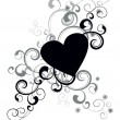 Black heart silhouette with decorative flourishes — Imagen vectorial