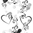 Black and white hearts and roses curves — 图库矢量图片