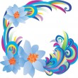 Vector blue flowers — Stock Vector