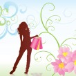 Woman with shopping bags and pink flowers - Stock Vector