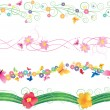 Flowers and butterflies borders vector isolated on white for easter and mothers day — Stock Vector #24543969