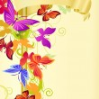 Gold banner and butterflies - Imagen vectorial