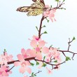 Cherry blossom with butterfly — Stock Vector