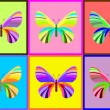 Collection of butterflies, bright color vector illustration - Stock Vector