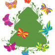 Fir tree with butterflies — Stock Vector