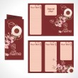 Royalty-Free Stock Vector Image: Vector brown and cream coffee menu template for your promotion cups and blossoming flowers