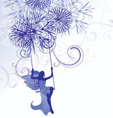 Christmas winter vector blue illustration of angel woman on swings with detailed snowflakes — Vector de stock