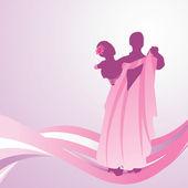 Pink dress dancing couple — Stock Vector