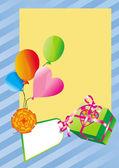 Quadro com balões e caixa de presente — Vetorial Stock